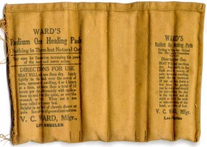 Powdered uranium ore in cloth bag for pain relief (1930).